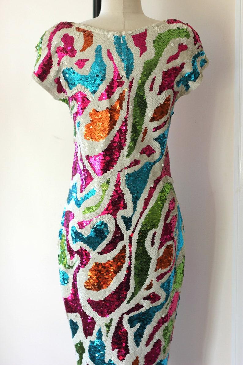 Mod Hand sequined Adrienne Vittadini vtg Dress