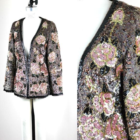 Sz M// Valentina Vtg Heavily sequin beaded jacket/