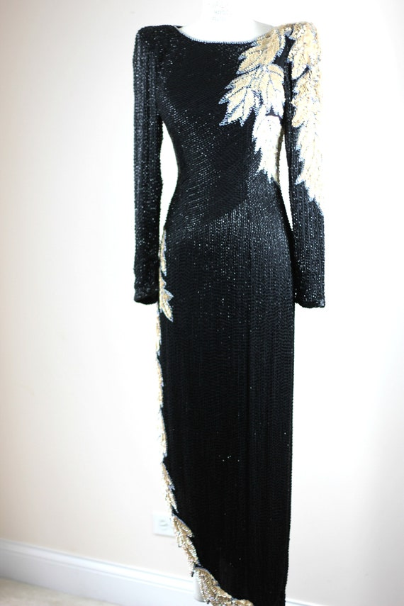 Sz XS// Stunning Formal Black Beaded sequined Gow… - image 8