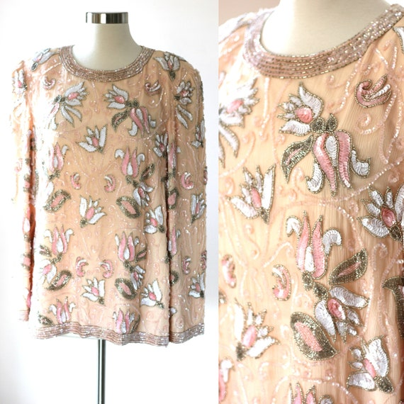 Size XL//Stunning Peach Beaded sequins top//  form