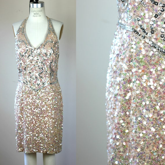 Sz 12// Vtg Sequin Beaded Silk Dress//Halter Dress