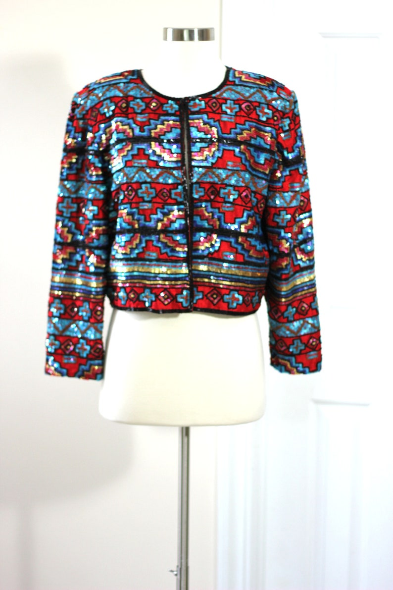 Turquoise Red Aztec Style Sequin jacket Beaded jacket on red silk