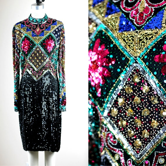 Sz 12//Formal Colorful Sequin beaded dress// Eveni
