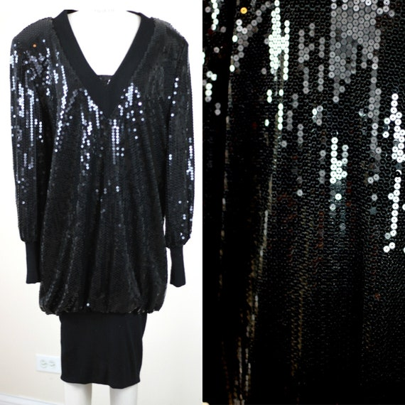 Size 14// 1980s Vintage Sequins Slouch style dress