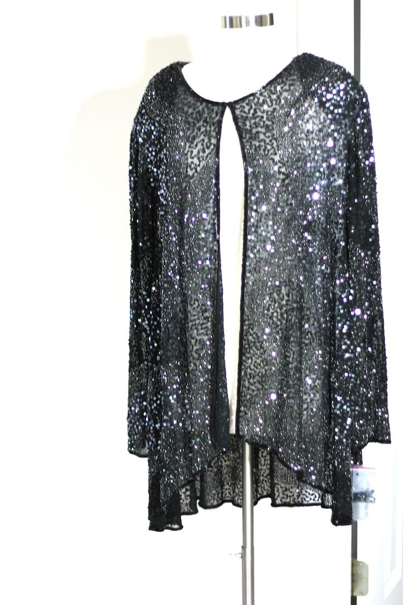 Stunning Silk Beaded Sequin jacket Plus Size Evening jacket Black Trapeze style