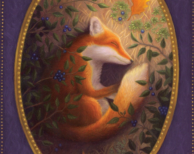 Fox Sleeping Leaves Nature Illustration Art Print
