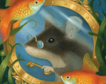 Mouse Art Print Goldfish Under Water Ocean Animal Nature Cute Whimsical Fantasy Fairy Tale Flora