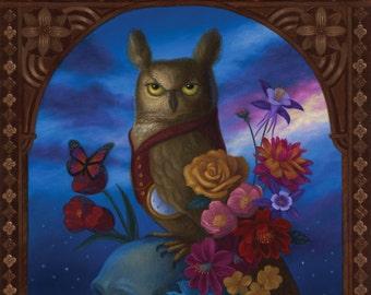 Owl Night Time Flowers Skull Nature Illustration Art Print