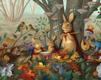 Bunny Rabbit Fairy Tale Mice Squirrel Nature Illustration Art Print