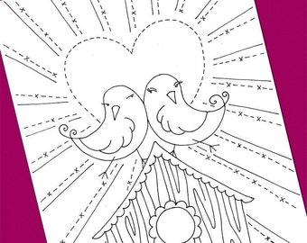 Lovebirds Embroidery Pattern