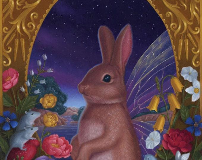 Bunny Fairy Rabbit Night Nature Illustration Art Print