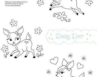 Embroidery Pattern of 3 Cute Deer Designs