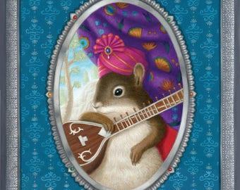 Squirrel Music Musician Sitar Animal Art Print Nature
