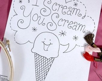 Ice Cream Cone Embroidery Pattern