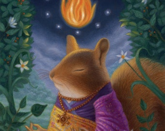 Squirrel Meditation Cute Colorful Happy Whimsical Peaceful Character Purple Fire Flora Fauna ForestArt Print Illustration Nature