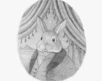 Bunny Rabbit Vampire Drawing Original Art Pencil Sketch Happy Scary Graphite Victorian Character Cute Whimsical