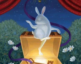 Rabbit Bunny Art Print Cute Nature Illustration Whimsical Magical Bees Fairy Tale Fantasy Night Nursery Kids Happy Peaceful Colorful