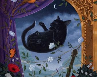 Cat Art Print Black Sleeping Dreaming Nature Art Print Flora Fauna Whimsical Magical Dreams Wonder Meditation Peaceful Flowers Music Poppy