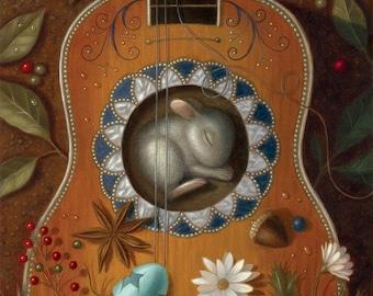 Bunny Art Print Guitar Nature Rabbit Illustration Flora Fauna Whimsical Fairy Tale Fantasy Wonder Dream Sleeping Flowers