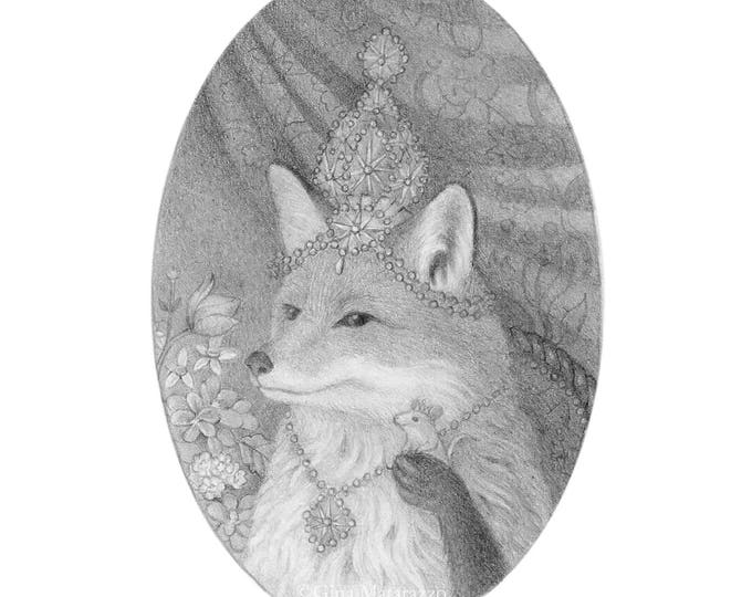 Fox Drawing Black and White Pencil Nature Cute Original Art