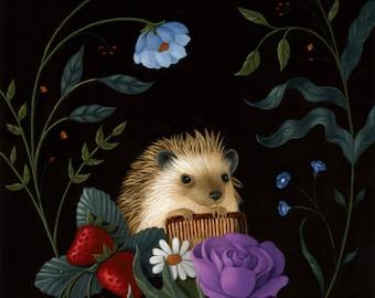 Hedgehog Art Print Fairy Tale Whimsical Cute Animal Nature Flora Fauna Flowers