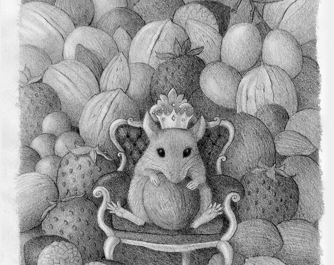 Mouse Nature Black and White Nuts Fruit Illustration Original Art Cute