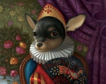 Chihuahua Art Print Illustration Nature Pup Puppy Dog Doggy Colorful Whimsical Portrait Happy Cheerful