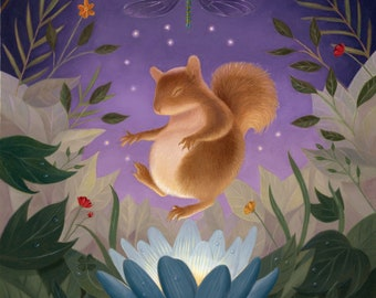 Squirrel Lotus Forest Woodland Creature Whimsical Flowers Meditation Peaceful Nature Illustration Art Print