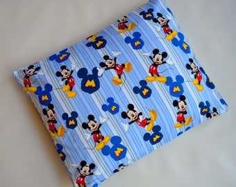 The Perfect Toddler Pillow . Walt Disney's Mickey Mouse on Blue Striped Smooth Cotton . Sew Cinnamon . Flat Thin Lightweight First
