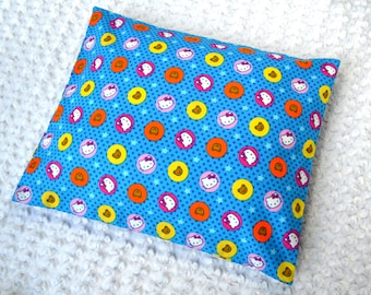 The Perfect Toddler Pillow ... Hello Kitty Stars w/ Bear on Blue Smooth Cotton ... Original Design by Sew Cinnamon . Flat Thin Lighweight