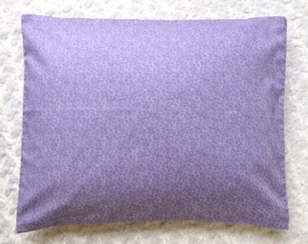 The Perfect Toddler Pillow . Purple Tiny Ditsy Floral on Smooth Cotton . Original Design by Sew Cinnamon . Flat Travel First Lightweight