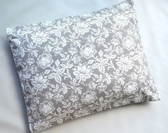 The Perfect Toddler Pillow ... Original Design by Sew Cinnamon ... Gray White Large Flowers on Smooth Cotton