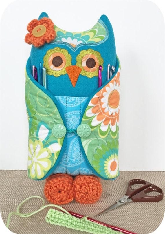 In The Hoop Owl Crochet Hook Holder Machine Embroidery Design Etsy
