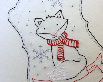 Winter Fox Embroidery Pattern - Instant Download