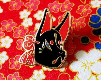 Black Kitsune Mask enamel pin