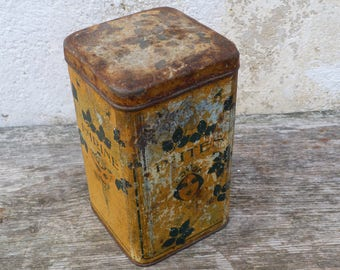 Vintage Antique 1900s  Art nouveaux French tin box PATES canister timeworn