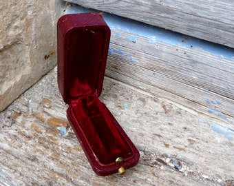 Antique 1900S French burgundy leather jewellers /jewelry box trinket