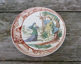 Vintage French Joan of Arc /Jeanne d'Arc Sarreguemine ceramics plate /Jeanne au bois chenu