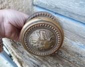 Vintage 1900 old French bronze cast iron hand door knocker door knob handle