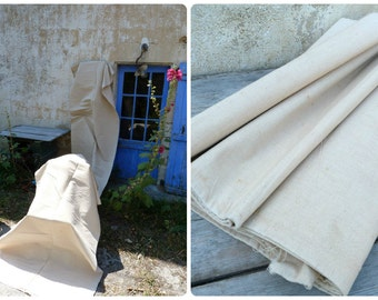 Antique French crinkly  hemp /linen homespun // by metter