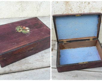 Vintage Antique 1900 wooden box trinket case with floral decalcomanie on the cover