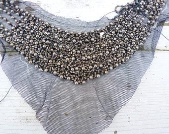 Vintage Antique 1920/20s flapper silvered glass beads on black net applique / collar