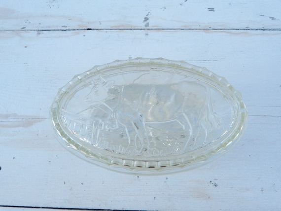 vintage antique old french 1930 /1950 cow glass butter dish | etsy