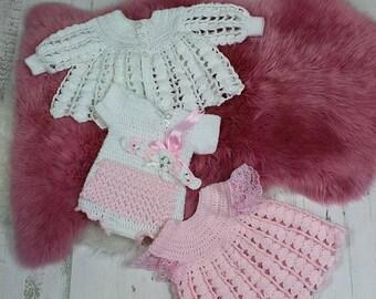 CROCHET PATTERN  For Baby Dress, Jacket, Bodysuit / Onesie, Headband PDF 32 Digital Download
