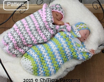 bc234de76b84 Crochet Pattern Baby Ruffled Cocoon Papoose Hat