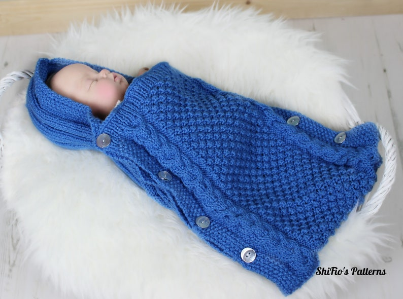 2c3c6ddd460c Knitting Pattern Baby Sleeping Bag Bunting With Hood