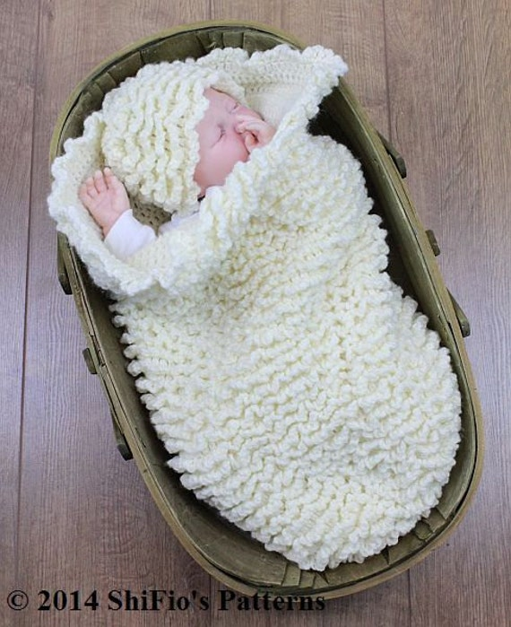 CROCHET PATTERN For Baby Ruffled Cocoon Papoose & Hat PDF