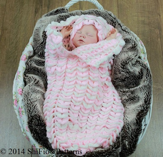 9753c0834bd9 CROCHET PATTERN For Crocodile Stitch Cocoon Papoose   Hat in