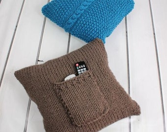 KNITTING PATTERN for 2 Chunky Cushions Cable & Pocket Covers PDF 267 Digital Download