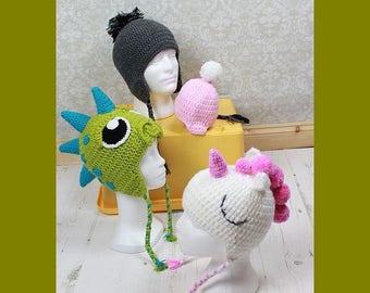CROCHET PATTERN For Unicorn, Dinosaur, Dragon Hat Beanie in 4 Sizes baby, toddler, child, adult PDF 361  Digital Download